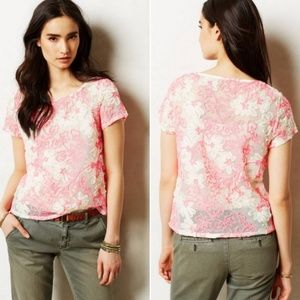 Anthropologie Cherry Blossom Top in Pink